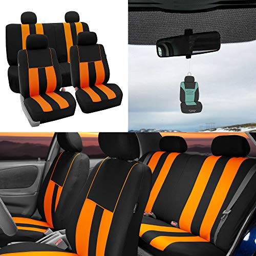 FH Group Striking Striped Seat Covers Airbag & Split Ready w. Free Air Freshener, Orange/Black Color- Fit Most Car, Truck, SUV, or Van ()