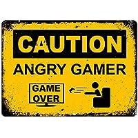 qidushop Angry Gamer Placa Amarilla inspiradora para recámara