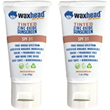 Waxhead Tinted Facial Sunscreen (2 pack) - EWG Rated 1 - Anti-Aging, Broad Spectrum, Zinc Oxide, SPF 31, Travel size, 1 ounce each