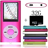 Tomameri Pink Portable MP4 Player MP3 Player Video Player with Photo Viewer , E-Book Reader , Voice Recorder with 32 GB Micro SD Card