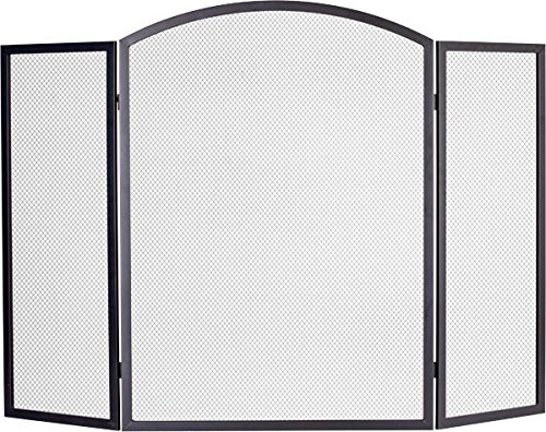 Black Country Metal Works 'Menwick Manor' Classic Large Three Fold Firescreen Spark Guard 71cm Tall