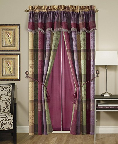 Chezmoi Collection Gitano Jacquard Patchwork 4-Piece Window Curtain Drape Set with Sheer Backing, Multi Color