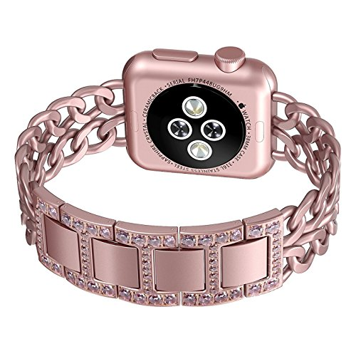Apple Watch Band, No1seller Premium Stainless Steel Cowboy Style Bracelet Watch Band Strap for Apple Watch Series 1, Series 2 (Diamond Version-Rose Gold, 42mm)