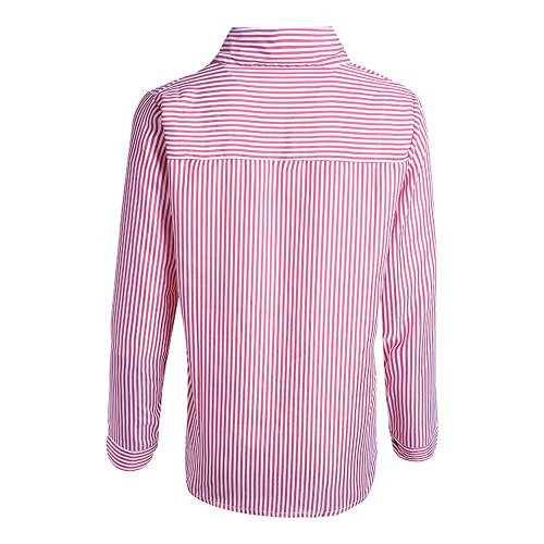 Rayure Casual Shirt OL Verticale Blouse Style Rouge Chemisier Lisse Femme Vertvie Top Chemise HwxRzXE