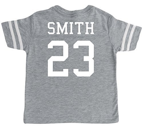 Rocket Bug Custom Football Sport Jersey Toddler & Child Personalized With Name and Number (5/6, Vintage Heather)