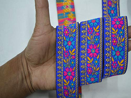1.2 Inch Weaving Magenta Jacquard Floral Metallic Designer Trims by 9 Yard Blue and Gold Woven Fabric Christmas Supplies Hand Sewn Embellishments Brocade Decorative Crafting Ribbon