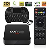 Android TV BOX + Wireless Keyboard, 4K 3GB/32GB Improved Version MXG Pro Android 6.0 S905X Quad Core