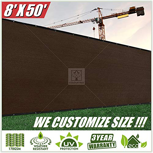- ColourTree 8' x 50' Fence Privacy Screen Windscreen Cover Fabric Shade Tarp Plant Greenhouse Netting Mesh Cloth Brown - Commercial Grade 170 GSM - Heavy Duty - 3 Years Warranty - Custom