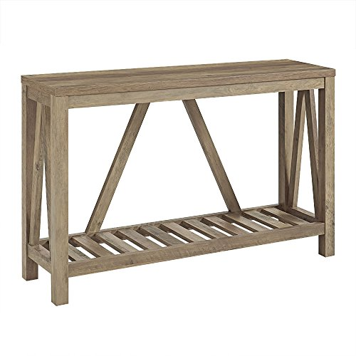 WE Furniture Tall Entryway Table for Living Room, Rustic Oak, 2 Tier Accent Sofa Console Table Occasional