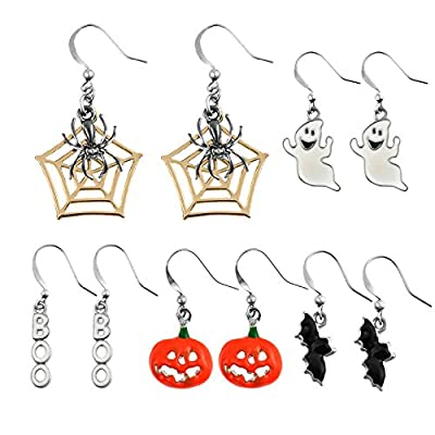 Miraculous Garden 5 pairs Halloween Drop Dangle Earrings Sets Spider Web Pumpkin Ghost Bat Boo Hook Earrings Set for Women Girls