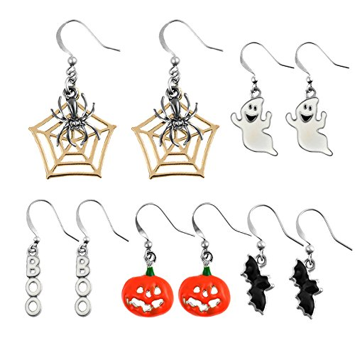 Miraculous Garden Halloween Theme 5 Pairs Drop Dangle Earrings Sets Including Halloween Spider Web Pumpkin Ghost Bat Boo Halloween Earrings for Women Girls
