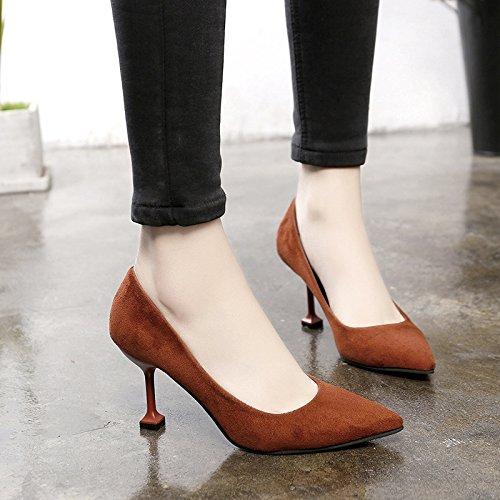 Avec Hauts Fine De Bouche Noires Bonbon Chaussures Sauvage Femmes Talons 36 Couleur Pointe Pour Superficielle qZYdfY5