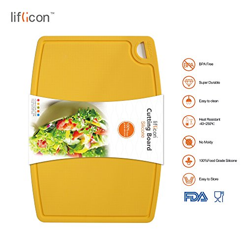 (Liflicon Thick Silicone Cutting Board 12.6'' x 9.1'' Food Grade Silicone BPA free Chopping Board Flexible Nonslip Antimicrobial Cutting Mats Heat Resistant-Yellow)