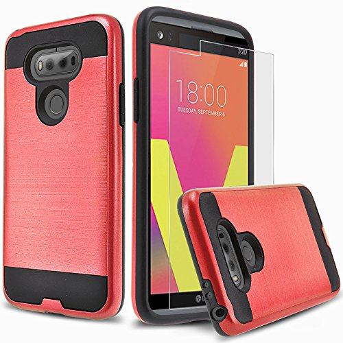 LG V20 Case, 2-Piece Style Hybrid Shockproof Hard Case Cover with [Tempered Glass Screen Protector] Hybird Shockproof And Circlemalls Stylus Pen ()