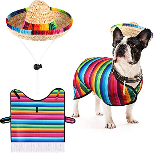 Frienda Dog Sombrero Hat Pet Serape Poncho Costume Funny Dog Costume Multicolor Adjustable Sombrero Costume Mexican Dog Poncho Straw Hat Chihuahua Clothes for Mexican Party Decorations