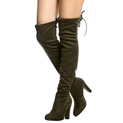 Womens Ladies Zip Block Chunky Heel Platform Over The Knee Stretch Boots Shoes LP_8181