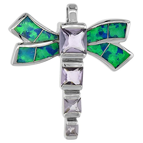 Sterling Silver Synthetic Opal Dragonfly Pendant Hand Inlay Amethyst CZ Cubic Zirconia Accent 7/8 inch