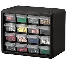 Akro-Mils 10116 16 Drawer Plastic Parts Storage Hardware and Craft Cabinet, 10.5-Inch x 8.5-Inch x 6.5-Inch, Black
