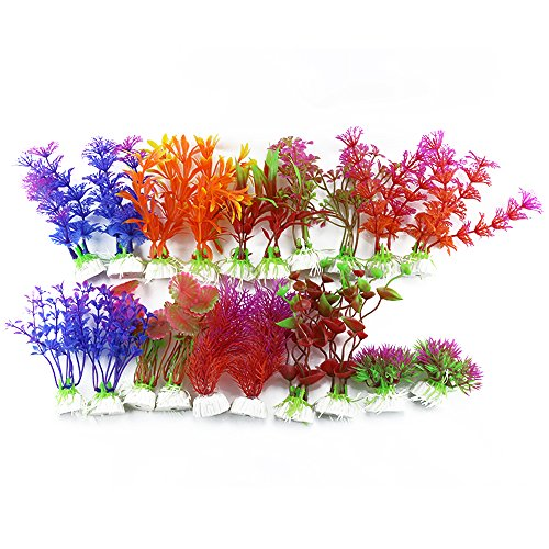 DLOnline 20 Pack Artificial Aquarium Plants Fish Tank Decorations Home Dcor Plastic (10 Style)