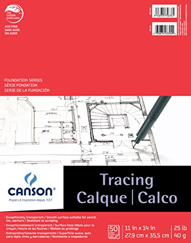 Canson Foundation Tracing Paper Pad for Ink, Pencil and Markers, Fold Over, 25 Pound, 11 x 14 Inch, 50 Sheets