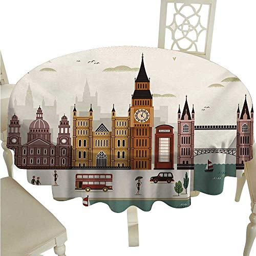 London Round Polyester Tablecloth Attractive Travel Scenery Famous City England Big Ben Telephone Booth Westminster Washable Polyester - Great for Buffet Table, Parties, Holiday Dinner, Wedding & Mor