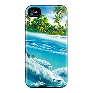 Top Quality Rugged Dolphins Swimming Case Cover For Iphone 4/4s