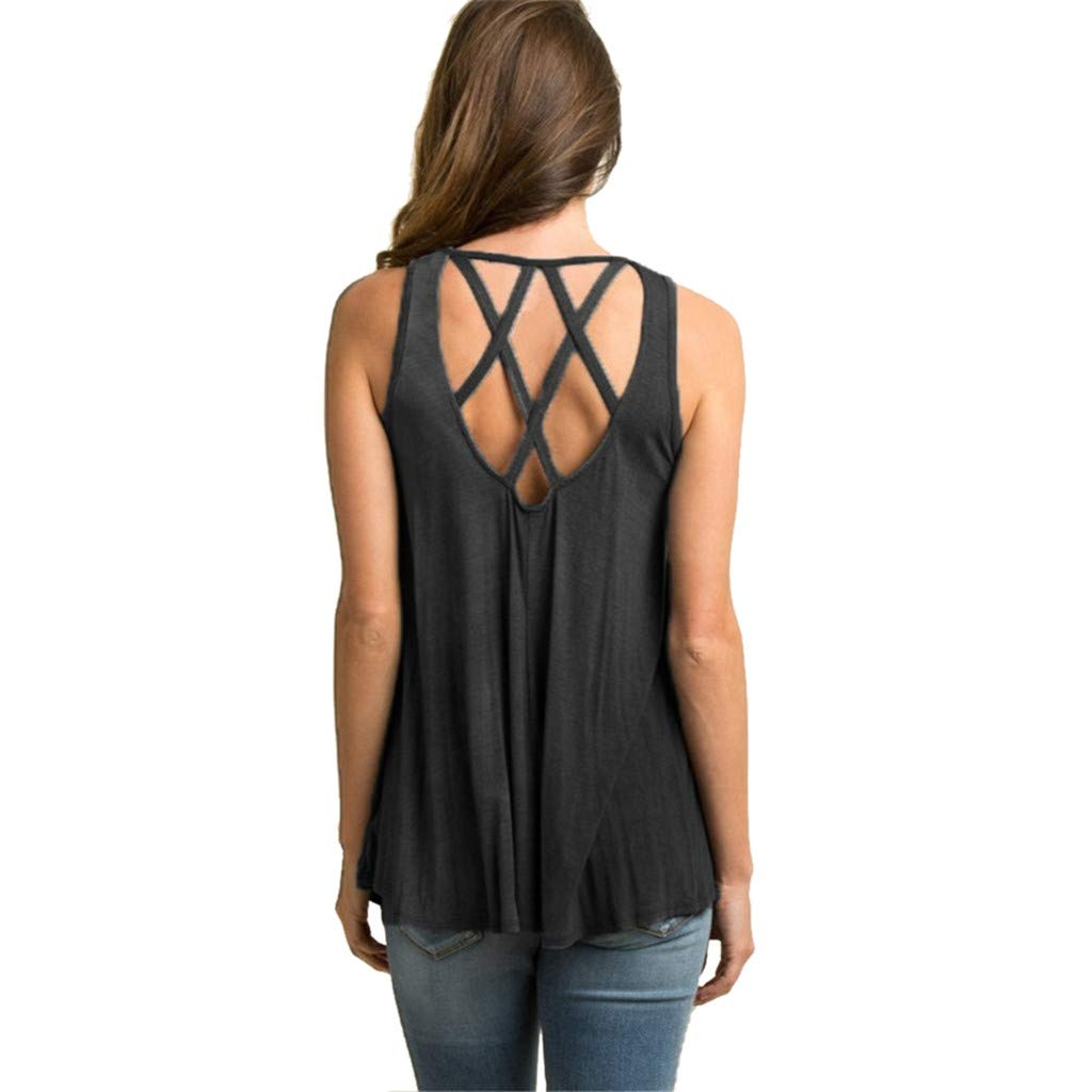 Nufelans Women Tank Tops Back Cross Vest Summer Sleeveless Cotton Loose Casual Blouse Shirt Black