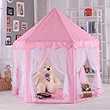 Anyshock Pink Princess Castle Kids Play Tent Indoor and Outdoor Children Playhouse Play Tent Toy Great Christmas Gift for 1-8 Years Old Kids boy girls baby Infant (No LED Light)