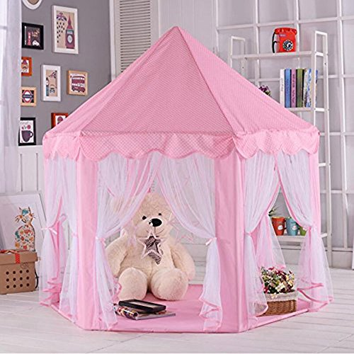Anyshock Pink Princess Castle Kids Play Tent Indoor and Outd