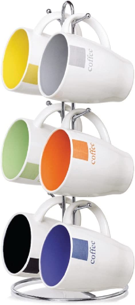 Home Basics MS30082 Mug with Coffee Stand (6 Piece), 11 oz, Multicolor
