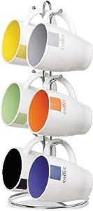 Home Basics MS30082 Mug with Coffee Stand (6 Piece), 11 oz, Multicolor