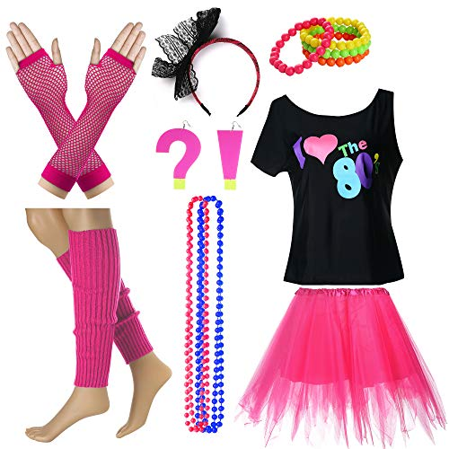 I Love The 80's T-Shirt Fancy Outfit Dress for 1980s Theme Party Supplies (S/M, Hot Pink) -