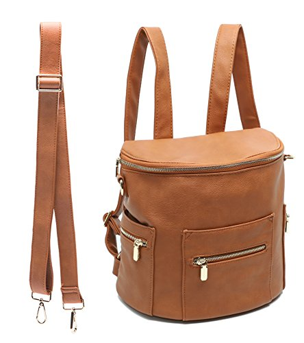 Mini Backpack by Miss Fong, Toddler Backpack Kids Backpack Diaper Bag for Mom with Insulated Pockets, Handle and Crossbody Strap(Brown)