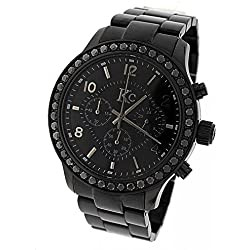 Men Techno Com Kc 45mm Wwql Genuine 4.00ct Black Large Diamond Black Face Watch