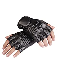Men's Fingerless Leather Gloves Half Finger Driving Cycling Motorcycle Outdoor Gloves Black