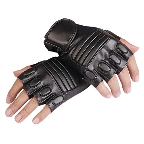 Men's Fingerless PU Leather Gloves Half Finger Driving Cycling Motorcycle Outdoor Gloves