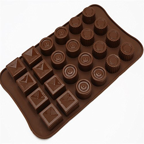 2 Pcs Round And Square Shape Chocolate Mold 24 Cups Cake Mould Silicone Diy Cooks Evenly ,cools Quickly Great For Christmas, Parties, Wedding, Birthday, Celebrations, Etc. (Mickey Halloween Party 2017 Map)