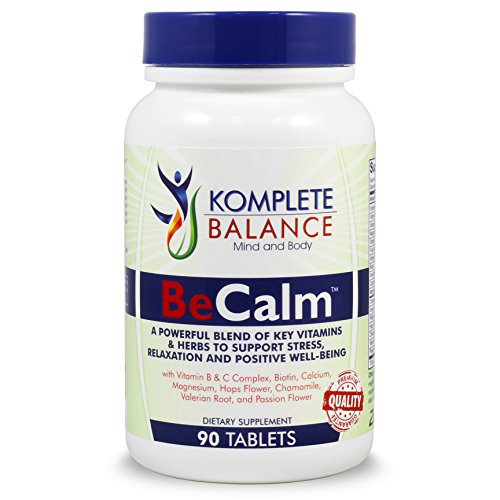 BeCalm | Natural Stress Support & Anti Anxiety Relief Supplement | Herbal Blend Crafted To Boost Serotonin |Keep Mood Positive, Busy Minds Relaxed, Calm & Focused; B & C Vitamins, Valerian Root & More