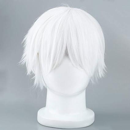 Peluca sintética blanca masculina para Cosplaying Personajes de anime pelo de seda de alta temperatura corta