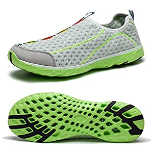 WOTTE Men's Mesh Quick Drying Aqua Slip On Water Shoes Breathable Walking Shoes (9.5 D(M) US, White)