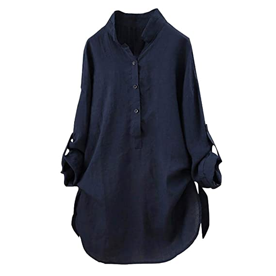 Blusas para Mujer Manga Larga,Stand-Cuello Botón Moda Diario Casuales Camiseta Suelto Top