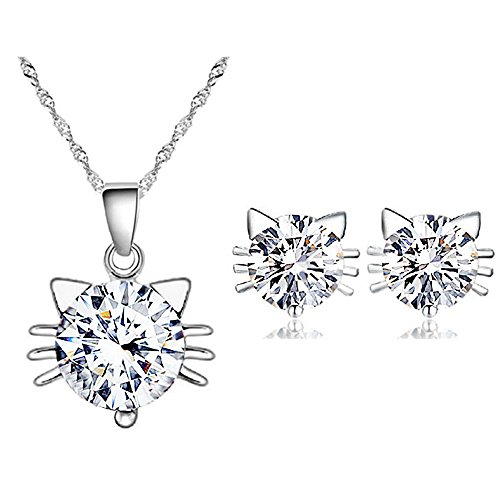 925-Sterling-Silver-White-Cat-Pendant-Necklace-Stud-Earrings-Cubic-Zirconia-Jewelry-Sets-For-Women-Teen-Girls-Luxury-Sparkling-Diamond-Look-Hypoallergenic-Swiss-CZ-Cheap-Inexpensive-Gift