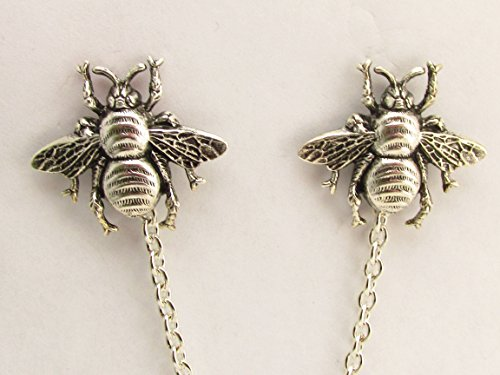 Collar pins Bee Sweater clips Bees cardigan clips Bee Tie tacks Bee sweater guards