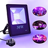 Disco Lights,Elfeland LED Floodlight UV Light LED Spotlight Black Light Ultraviolet Lighting Outdoor Spot Lights Security Light 30W IP66 Waterproof Stage Lighting Party light Outdoor Lights Ideal for Garden Disco Car park and Fore