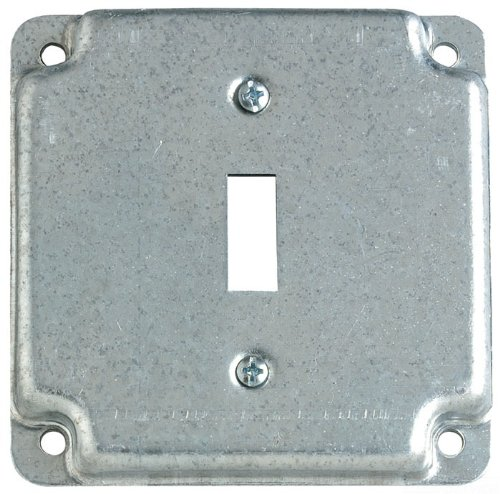 Steel City RS9 Outlet Box Surface Cover, Square, Raised, 4-Inch, Galvanized, 50-Pack
