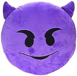 BIGOCT Emoji Smiley Emoticon Round Cushion Stuffed Pillow Plush, Purple, 32cm