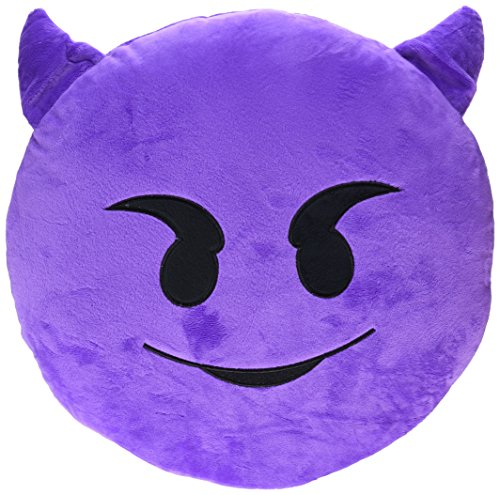 Emoji Devil Yellow Round Pillow