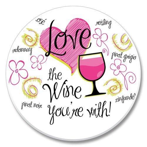 Love the Wine You're With! Stone Auto Car Coaster (1) (Tilt Wine Coaster)