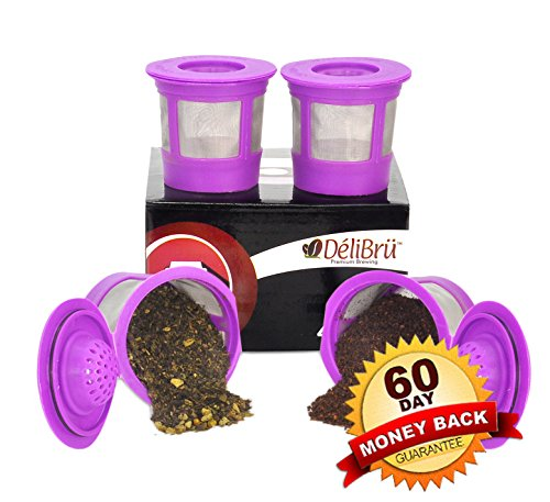 Delibru 4Pack Reusable K-Cups Refillable universal KCup for Keurig 2.0 & 1.0 Machines. Reusable kcup, k cup reusable filter, keurig coffee filters, Compatible With Keurig Brewers. (Loose Leaf Tea Storage Containers compare prices)