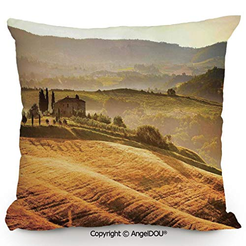 AngelDOU Throw Pillow Cotton Linen Pillow Cover and Inserts,Siena Tuscany Retro Farm House Trees Old Path Country Landscape on Sunset,Modern Home Office Sofa Bed Nice Decor.19.6x19.6 inches